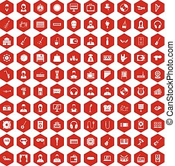 100 music icons hexagon red - 100 music icons set in red...