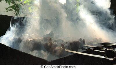 skewers of meat fried in the smoke - skewers of meat fried...