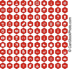 100 tourism icons hexagon red