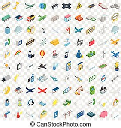 100 plane icons set, isometric 3d style - 100 plane icons...