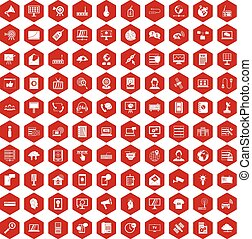 100 telecommunication icons hexagon red - 100...