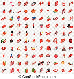 100 red icons set, isometric 3d style - 100 red icons set in...