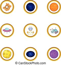 Space exploration icons set, cartoon style - Space...
