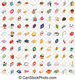 100 practical icons set, isometric 3d style - 100 practical...