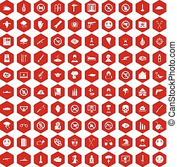 100 tension icons hexagon red - 100 tension icons set in red...