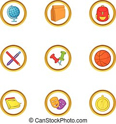 School lessons icons set, cartoon style