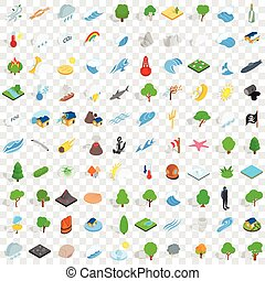 100 natural disasters icons set, isometric style