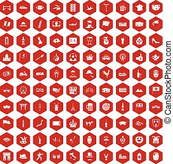 100 tourist attractions icons hexagon red - 100 tourist...