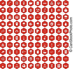 100 water supply icons hexagon red - 100 water supply icons...