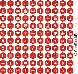 100 womens accessories icons hexagon red