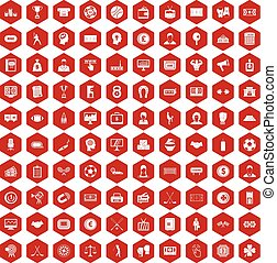 100 totalizator icons hexagon red - 100 totalizator icons...