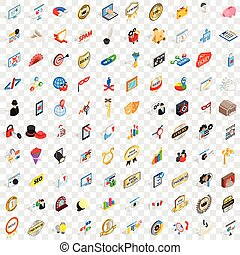 100 presentation icons set, isometric 3d style
