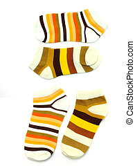 set of several multi colored socks isolated on white...