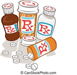 Too Much Medicine - Bottles of medicine with pills strewn...