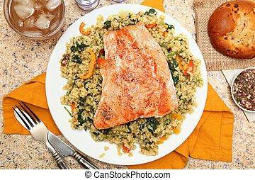 Salmon with Cracked Freekeh Salad and Salsa Verde - Salmon...