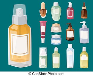 Bottles of cosmetic cosmetology lotion makeup beauty plastic liquid cream container fluid pack vector illustration.