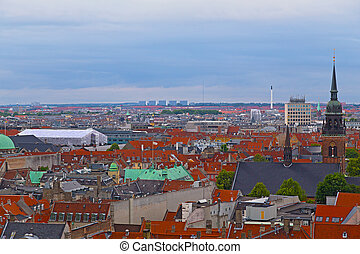 An aerial view on Copenhagen from the Tower of Christiansborg Palace.