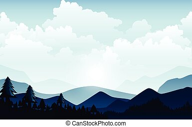 Vector illustration, Landscape view with the sky, clouds,  mountain peaks, and forest. for the website background