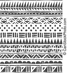 Vector seamless pattern in tribal style. Abstract block...