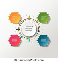 Vector infographic template with 3D paper label, integrated circles. Can be used for workflow layout, diagram, business step options, banner, web design. background illustration.
