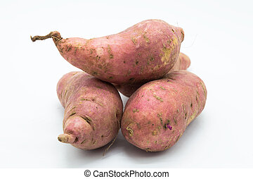 Sweet purple potato root fruit on white background