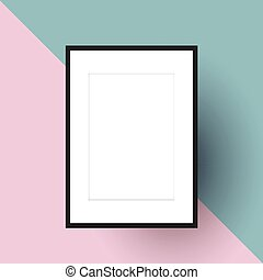 Blank picture frame on two tone background - Blank picture...
