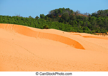 A bright sunny day on the Red Dunes. Surroundings of Phan...