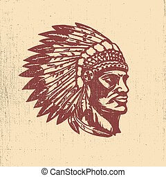 Native american chief head illustration. Design elements for log