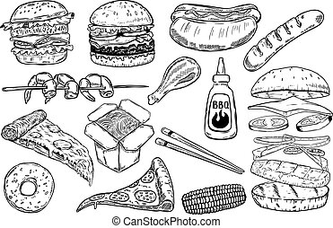Set of hand drawn fast food illustrations. Burger, pizza,...