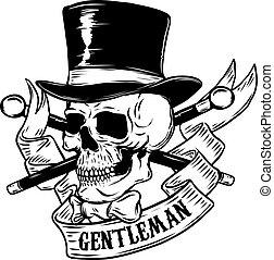 gentleman. Skull in vintage hat. Design element for poster,...