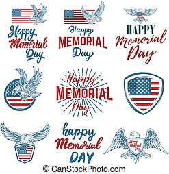 Set of Happy Memorial Day labels. Design elements for...