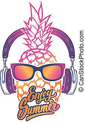 Enjoy summer. Pineapple with sunglases and headphones....