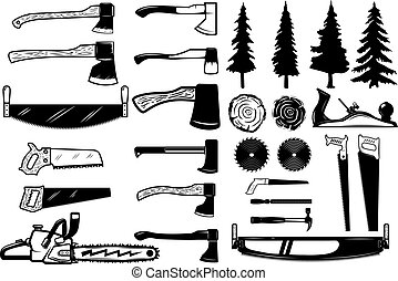 Set of carpenter tools, wood and trees icons. Design elements for logo, label, emblem, sign. Vector illustration