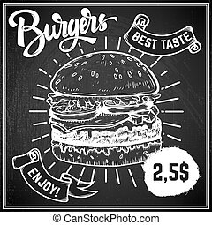 Burgers menu cover layout. Menu chalkboard with hand drawn...