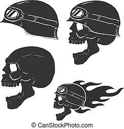 Skull in rider helmet with fire. Vector illustrations