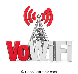Voice over WiFi Sign with Metal Antenna Isolated