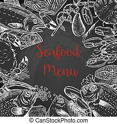 Seafood fresh menu template. Fish, crab, shrimp, lobster, spices. Vector illustration