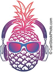 Pineapple with sunglases and headphones. Summer consept....