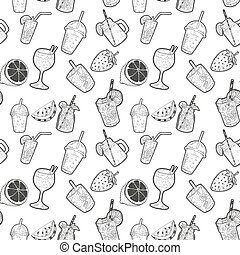Seamless pattern with cocktails and fruits. Design elements for menu, poster.