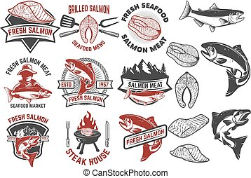 Salmon meat labels and badges. Seafood grill. Fish steak....