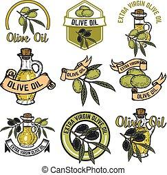 Set of Olive oil labels. Design elements for logo, emblem, sign.