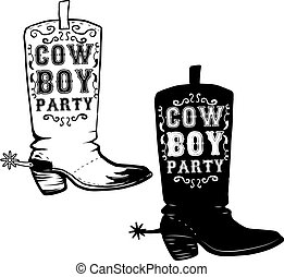 Cowboy party. Hand drawn Cowboy boots illustration. Design eleme