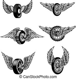 Set of winged car tires on white background. Design elements for