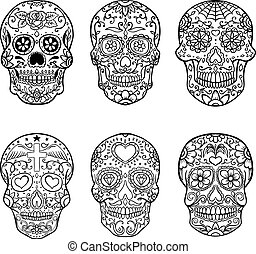 Set of hand drawn sugar skulls. Day of the Dead. Dia de los...