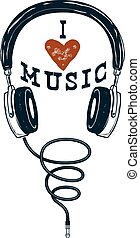 I love music. Hand drawn headphones. Design elements for poster,