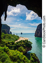 high view of Ao Nang beach from cave on mountain