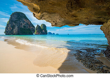 Ao Nang beach on a background of blue sky, Phi-Phi island