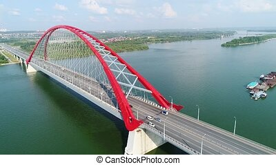 drone flight over the river. cable-stayed bridge.beautiful...