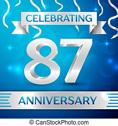 Eighty seven Years Anniversary Celebration Design. Confetti...