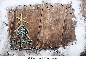 Wall plug Christmas backround - Christmas tree made of wall...